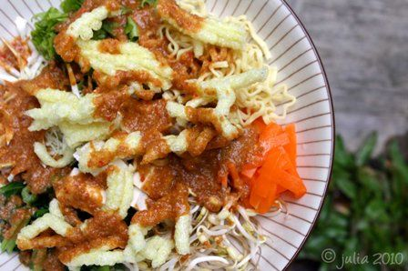 Asinan Betawi: the vegetable asinan from Jakarta is preserved Chinese cabbage, bean sprouts, tofu and lettuce serve in a thin, hot, peanut sauce with vinegar, topped with peanuts and krupuk (especially krupuk mie).