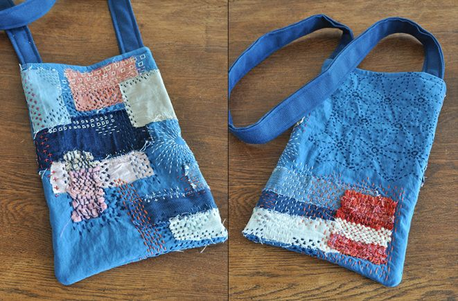 Handmade bag by www.rrrauw.nl with the sashiko stitching technique.