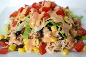 Burrito Bowl with Creamy Chipotle Sauce - made this with grilled chicken and it was a hit! Very tasty & versatile. Just toss whatever you have in and you have a healthy meal