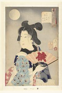 Geisha uit de Koka periode (1844-48), in mannenkleding waarop patroon van pauwenveren, met geopende waaier; bij volle maan. Tijdens het Niwaka festival was het gebruikelijk voor geisha om in het Yoshiwara kwartier komische optredens te verzorgen.