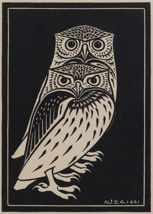 'Two Owls' by Julie de Graag (woodcut, 1921)