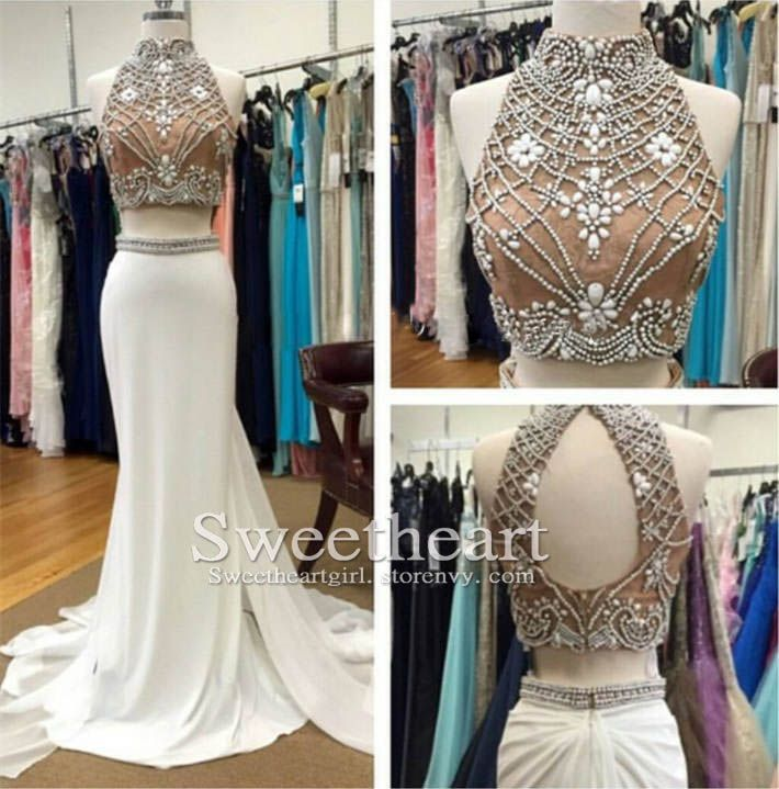 Unique 2 Pieces Beaded Chiffon Long White Prom Dress for Teens, Evening Dress