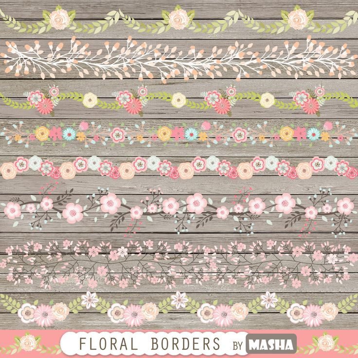 Frontera floral clipart: Fronteras FLORAL con flor