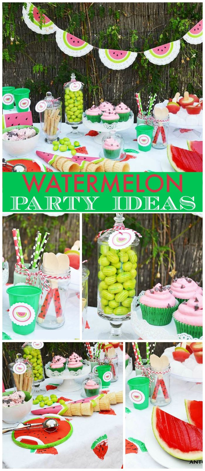 This watermelon sweets table is perfect for summer! See more party ideas at CatchMyParty.com!