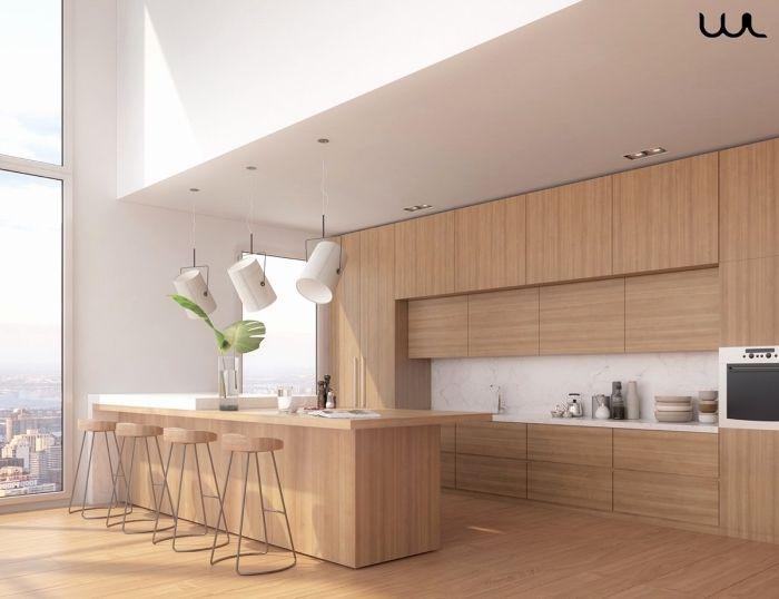 Modèle De Cuisine Moderne Blanc Et Bois à Plafond Haut Et Grandes Fenêtres  Aménagée Avec îlot