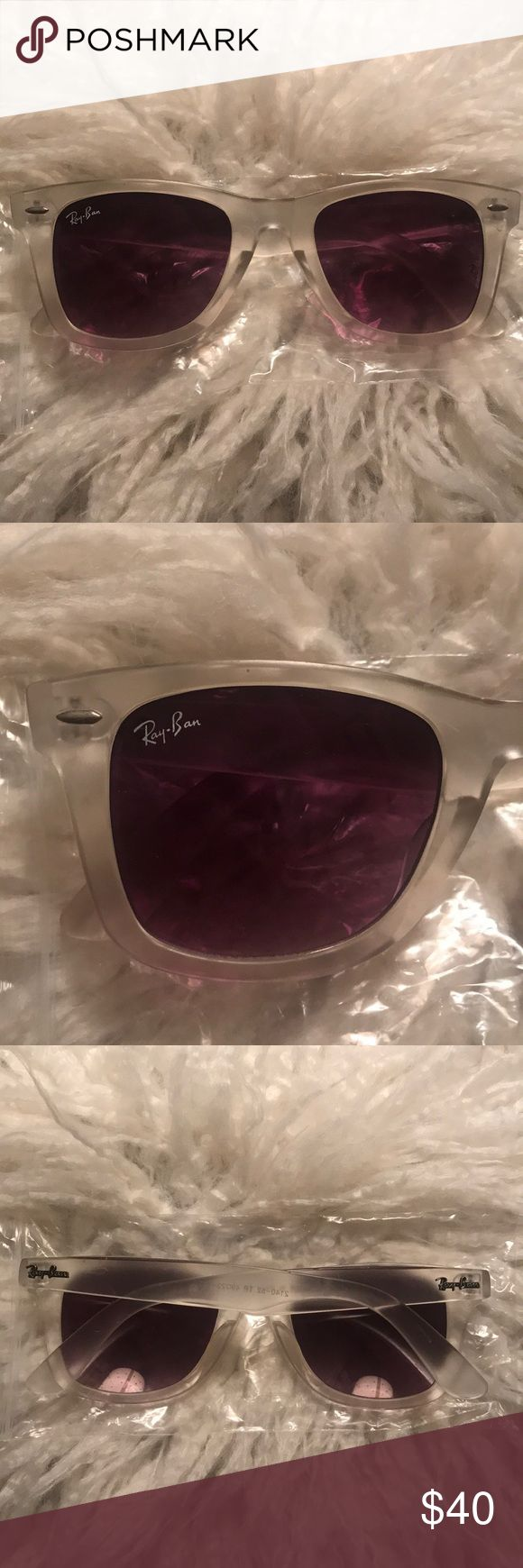 Clear Frame Ray Bans Matte clear framed wayfarer Ray Bans. New condition. Doesn't come with case. Ray-Ban Accessories Sunglasses