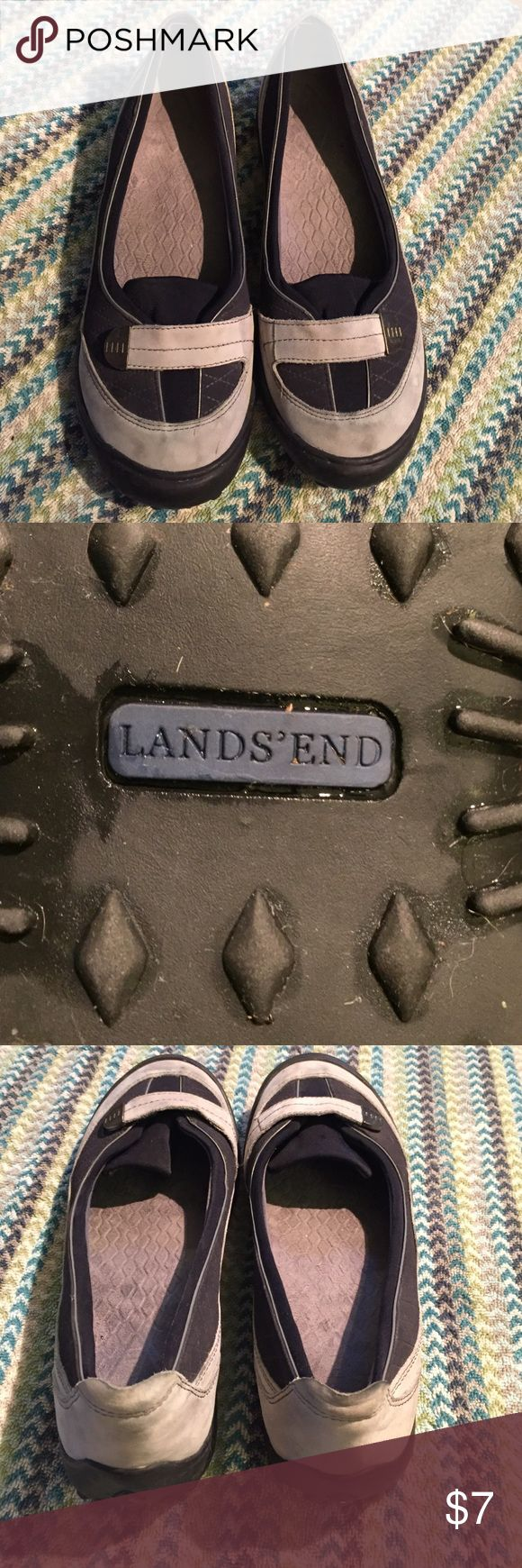 Lands End Shoes Navy clubs and light blue/gray slide on shoes. These have only been one once or twice. Brewer are some darkish spots one the toes, they were like this when I purchased so I'm honestly not sure if it how they look or if it happened at the store. Lands' End Shoes Sneakers