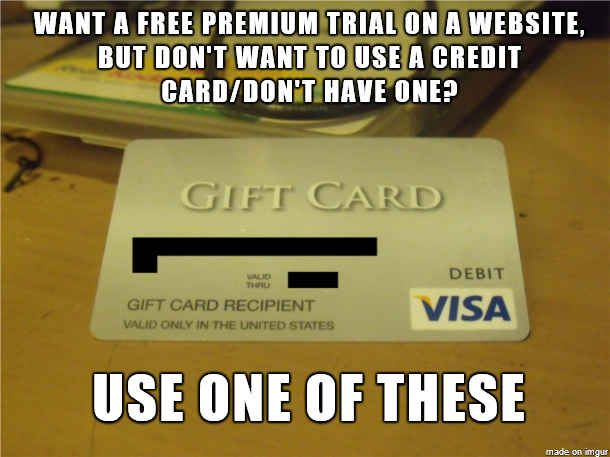 Use Visa gift cards to get free trials online.