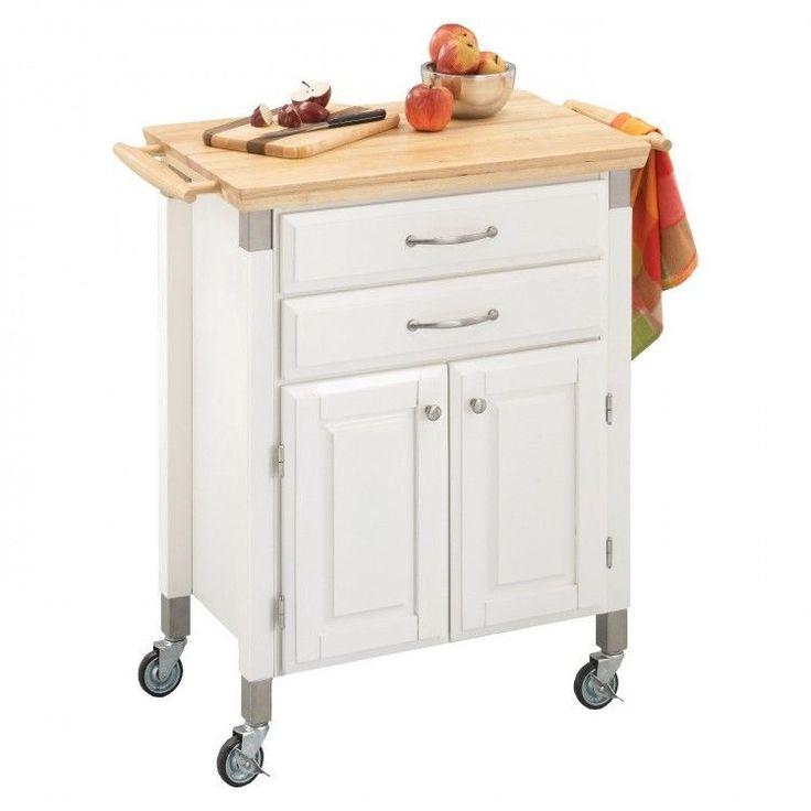 kitchen serving cart solid wood top white island storage