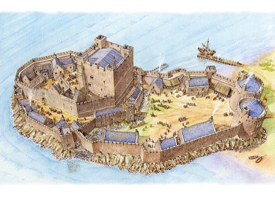 Carrick Castle Phase 3 in Carrickfergus, Co Antrim some time after 1228 by Philip Armstrong