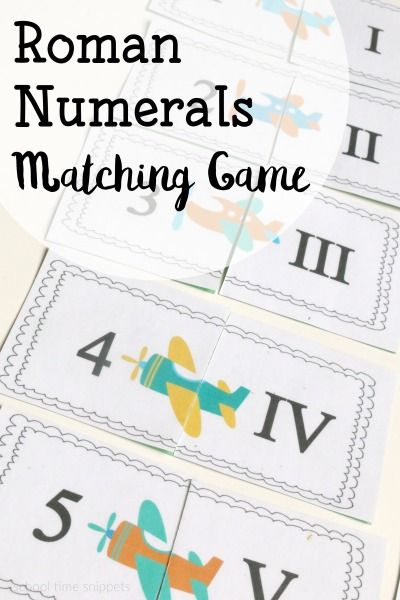 Have fun learning about Roman Numerals with this cute airplane themed Roman Numerals Memory Game