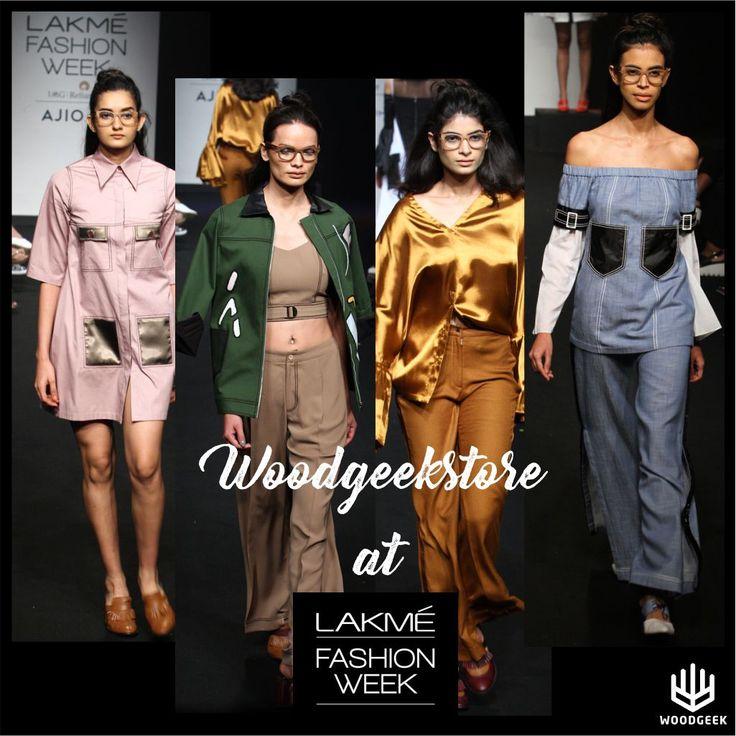 Models walking the ramp for designer Ishita Mangal's label Quo wearing Woodgeek Minimalist eyeglasses at Lakme Fashion Week Summer/Resort 2017. #woodenglasses