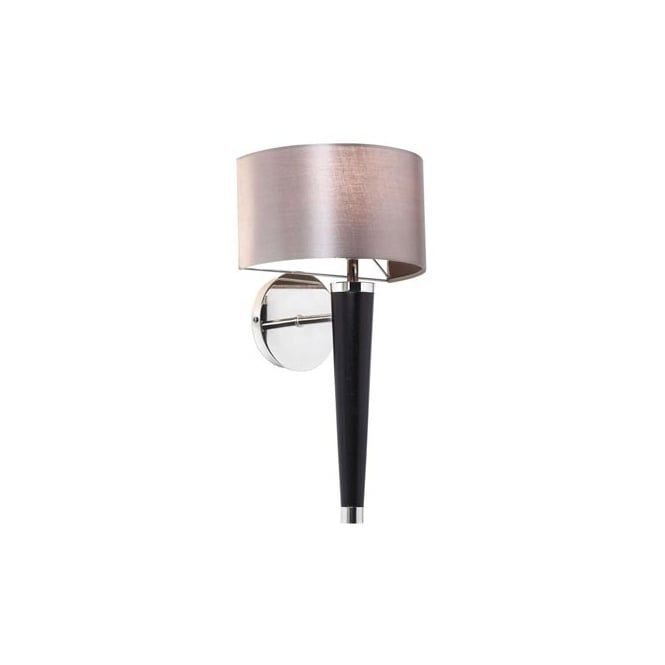 Contemporary Wooden & Chrome Wall Light with Faux Silk Shade