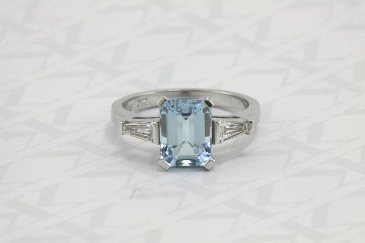 Aquamarine dress ring, custom made by Kalfin jewellery