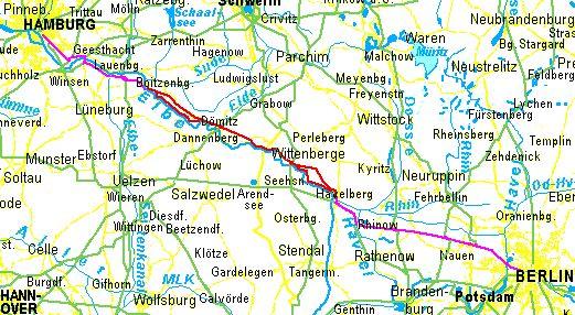 radweit: Berlin – Hamburg per Fahrrad, Übersicht der Route