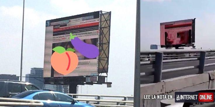 Este caso es un claro ejemplo de que algo que comenzó como una simple jugarreta, puede terminar en una verdadera tragedia. Alguien, de identidad desconocida, decidió hackear la valla publicitaria de la autopista Periférico en Ciudad de México con un vídeo pornográfico.   #hackeada #porno #valla publicitaria