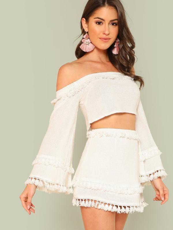 6a244ae59 Bell Sleeve Layered Tassel Trim Crop Bardot Top & Skirt Set  -SheIn(Sheinside)