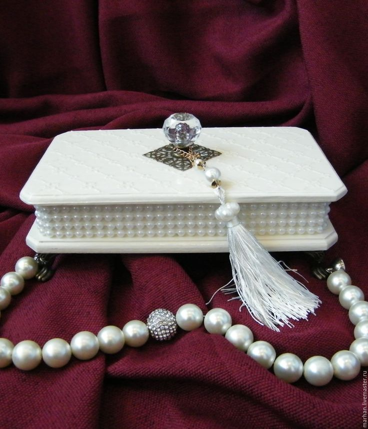 Купить Шкатулка для украшений для мелочей Жемчуг. Декупаж - жемчужный, ванильный, бордовый, свадебная шкатулка