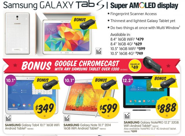 Grab a bonus Chromecast with a range of Samsung Tablets from Dick Smith