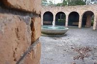 A fountain in a courtyard