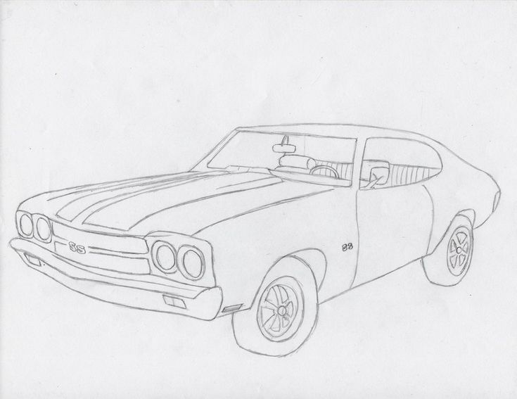 1970 Chevelle Ss Drawing Sketch Template Coloring Books