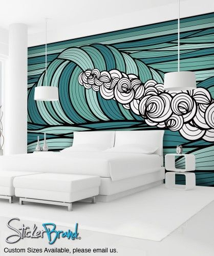 Wall Mural Decal Sticker Curl Ocean Wave Green Color MCrespo128 Part 14