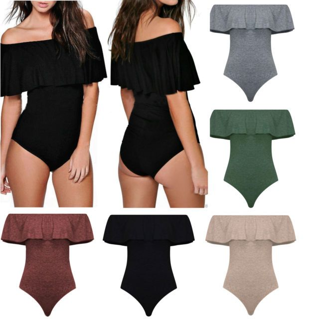 Womens Ladies Frill Off Shoulder Bodysuit Jumpsuit Stretch Party Leotard Tops | eBay