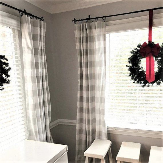 Light French Gray And White Buffalo Check Curtains Rod Etsy Check Curtains Buffalo Check Curtains French Country Living Room