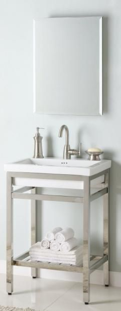 24 Inch Single Sink Console Bathroom Vanity with Choice of Metal Base Finish and White Ceramic Sink