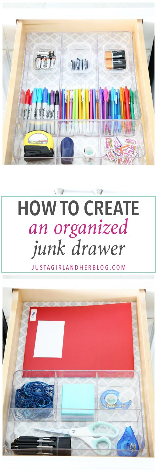 "Home Organization- Organized "" junk drawers "" hold everything you need to keep your home running smoothly on a day to day basis! Command center, back to school, organization, organized, declutter, decluttering, office supplies, school supplies, tools, necessities, storage, pretty storage, labeling, labels, drawer liner, contact paper, filled up organized junk drawers, storing batteries and school supplies, How to Create an Organized Junk Drawer"