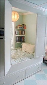 Bed nook - I would read and nap in this place like no other.  Key would be to not tell the husband or son where it is.