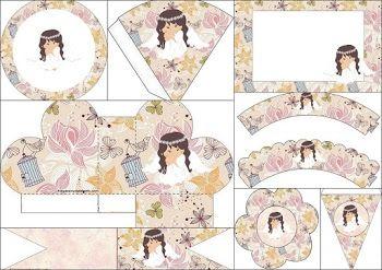 Angelita en Jardín Vintage: Mini Kit para Fiesta de Primera Comunión para Imprimir Gratis.