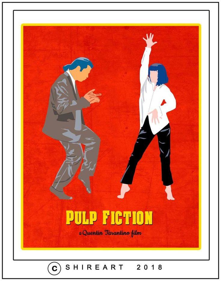 Pulp Fiction Minimalist Movie Poster - John Travolta - Uma Thurman