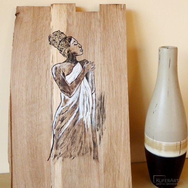 Murzynka, obrazek malowany na drewnie - Dekoracje - Wnętrze