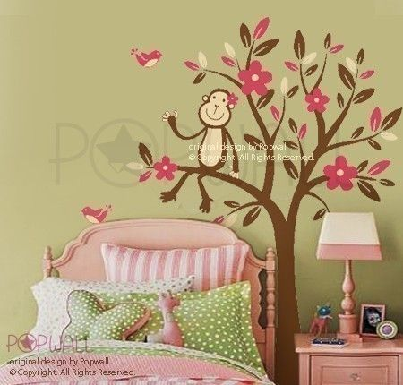 Scimmia seduta su un fiore albero Wall decal, vivaio muro decalcomanie Wall Sticker, wall decor, arte 085