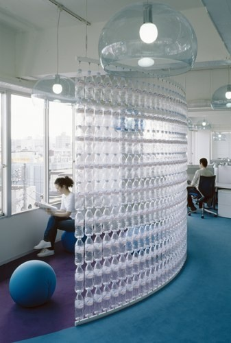 I am doing this!!!!   Water Bottle wall!