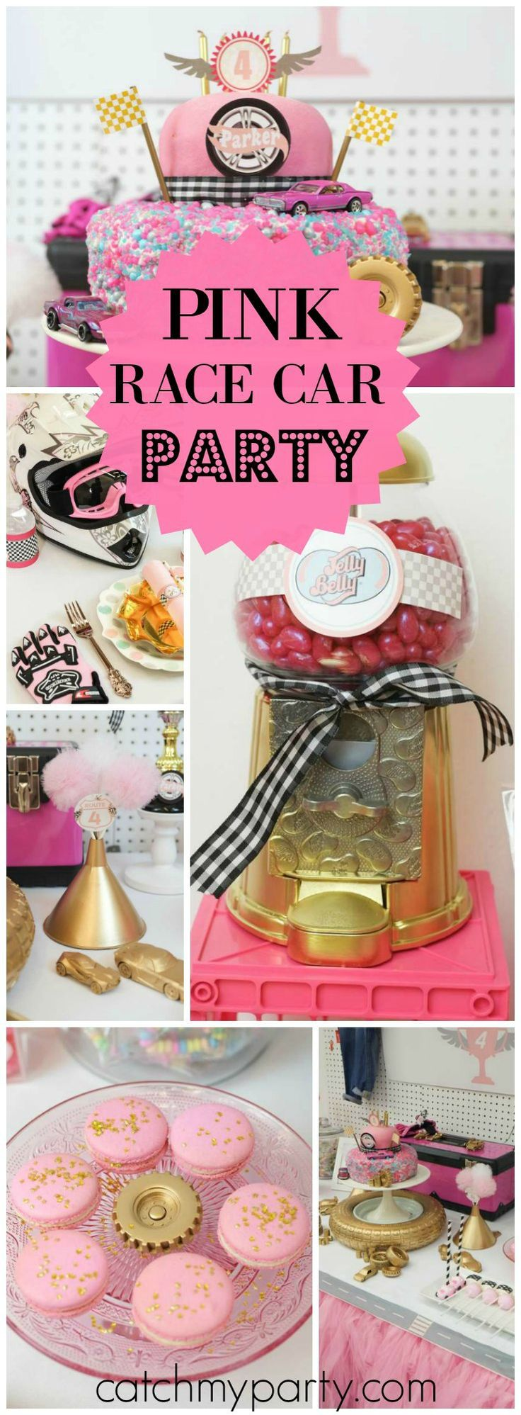 How cool is this gold & pink race car girl birthday party?! See more party ideas at CatchMyParty.com!