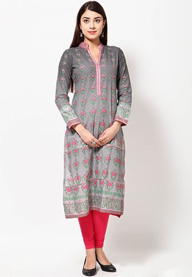 Grey coloured kurta for women from Folklore. Made of 100% cotton, this Pakistani long, printed kurta has full sleeves and a mandarin collar. It comes in regular fit.