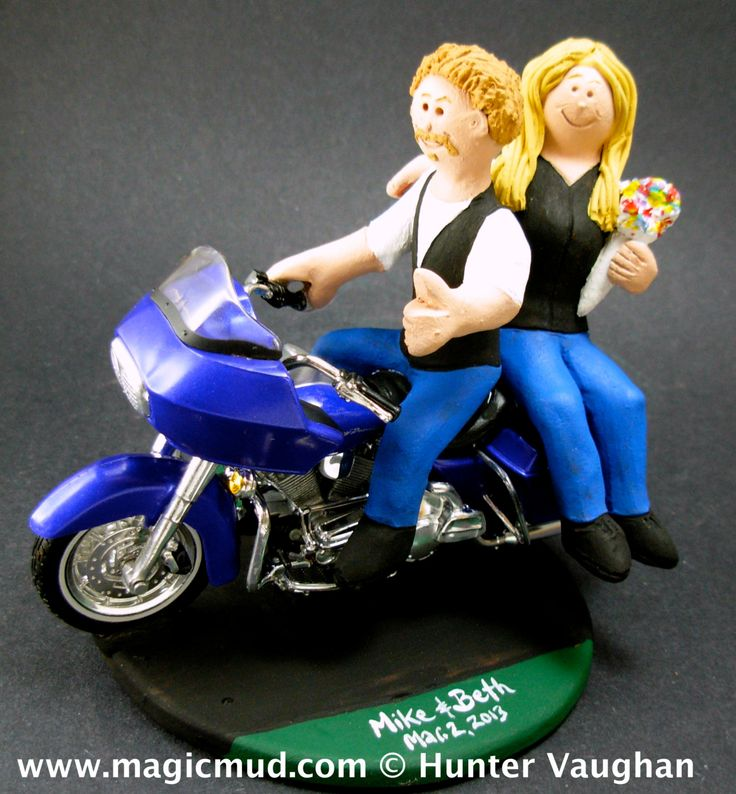 Motorcycle Bride and Groom Wedding Anniversary Gift/Cake Topper, Harley Davidson Wedding Anniversary Gift/Cake Topper,     Bride and Groom Riding Harley-Davidson Motorcycles Wedding Cake Topper, Custom Made to your specifications. Made just for your wedding day! Both the bride and groom are riding their own harley motorcycles!!    $235 #magicmud 1 800 231 9814 www.magicmud.com