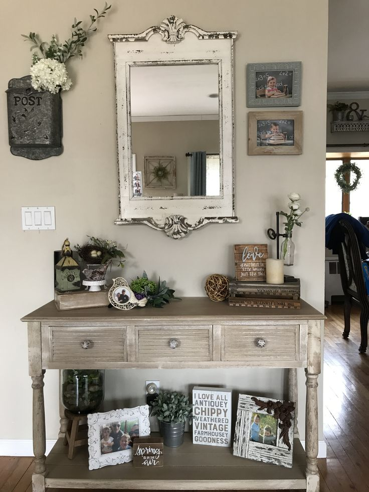 Hobby lobby console table, hobby lobby mirror, farmhouse