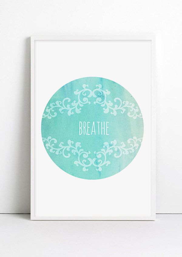 Yoga Poster Breathe Watercolor Minimalist Mint Green Turquoise Vintage Yoga Watercolor Art Relax Yoga art Blue wall decor, Typographic Print by Fybur on Etsy https://www.etsy.com/listing/183187813/yoga-poster-breathe-watercolor