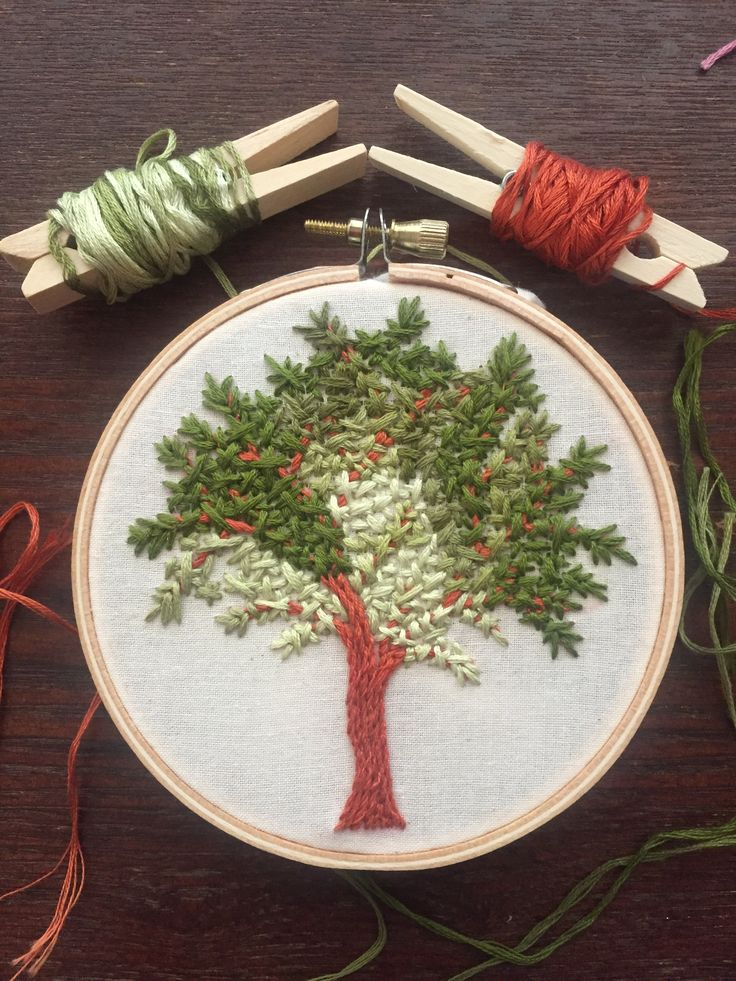 """By Angie Martin. Embroidery tree. Stem stitch (also known as """"Outline or crewel stitch) for the trunk and branches.  Ermine stitch for the leaves. #embroidery #Embroiderytree #Stemstitch #embroideryart"""