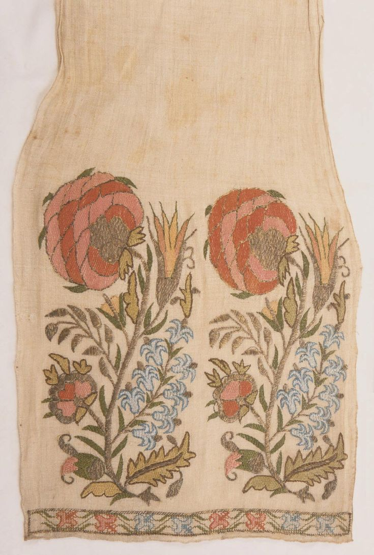 Sash. Cotton plain weave with silk and silver thread embroidery in satin, Turkey, Ottoman Empire, late 18th - early 19th c. 7' 1'' × 9 5/8''. Reversible sash with pomegranates, hyacinths, and tulips design. Philadelphia Museum of Art.