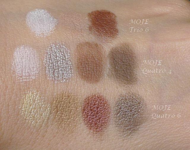 Kosmetika MOJE, swatche očních stínů – nahoře trio č. 6, uprostřed quatro č. 4, dole quatro č. 6