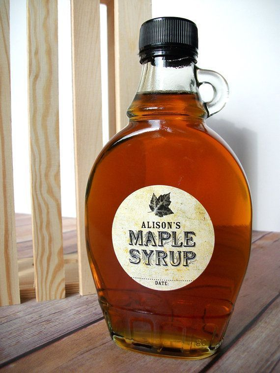 Custom Maple Syrup bottle labels are customized with your name & date, a great gift for home-based maple sugarers or to use at the farmer's market. CanningCrafts.com
