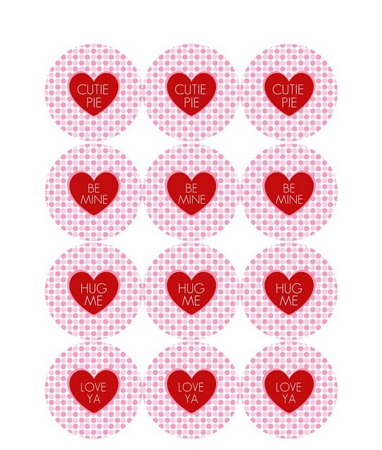 """Free printable """"cutie pie"""" Valentines Day tags.  Use for cupcake toppers or treat bags."""