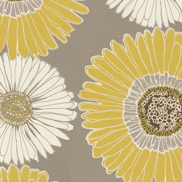 Drive Me Daisy This Fabric Has A Large Yellow And White Daisy Print On A Gray Background