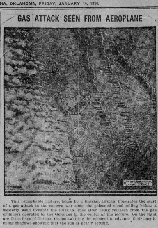 "WWI covered live on Twitter: ""Jan 14 1916 Russian plane captures rows of German attacking after poison gas was released https://t.co/rTkGTr6mne https://t.co/bNLTVfpQea"""