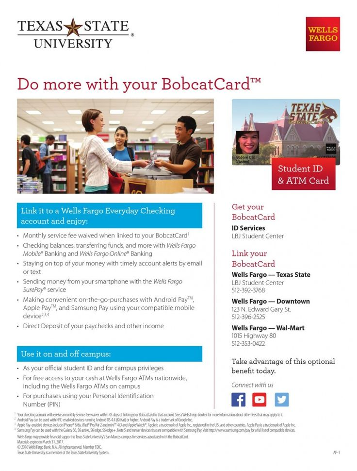 Do more with your bobcatcardtm link it to a wells fargo