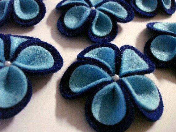 Articoli simili a Set di 6 x a mano feltro con perla - blu (PW) su Etsy